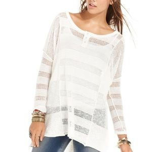 Free People ivory linen blend long sleeve top
